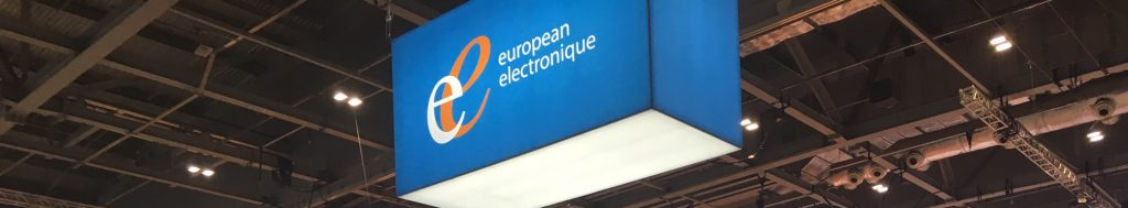 european electronique hanging banner at trade show