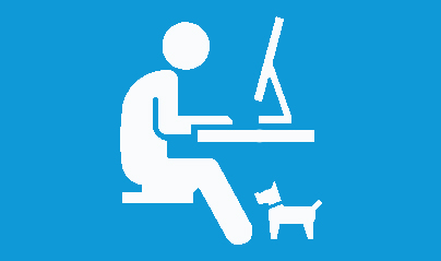 icon of man working from home with his dog
