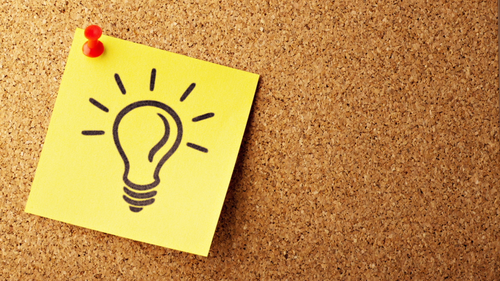 Post-it note showing a lightbulb